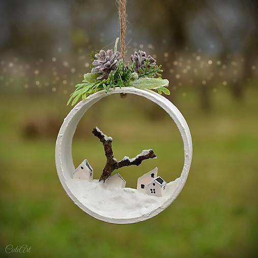 Zimná krajinka - závesná vianočná ozdoba