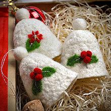 Dekorácie - Vianočné plstené zvončeky - 3ks - 11330540_