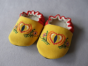 Topánočky - Papučky s ľudovým motívom (žlto-červené) - 11332015_
