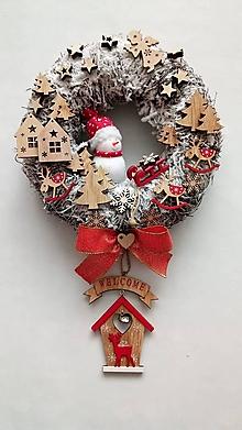Dekorácie - Vianocny veniec Snehuliak - 11330901_