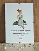 Obrazy - Baletka, akvarel, s motivačným citátom - 11332810_