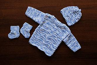 Detské súpravy - Detský sveter s čiapočkou a ponožtičky - 11334105_