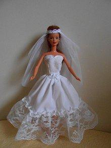 Hračky - Svadobné šaty so závojom pre barbie - 11333329_