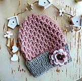 Detské čiapky - Pudrovo ruzova so sedou - 11333646_