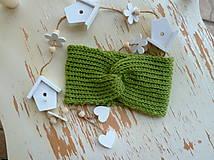 Detské čiapky - Zelena turban celenka pre deti SKLADOM - 11333877_