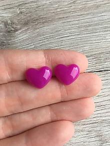 Náušnice - Napichovačky srdiečka fialové - 11337865_