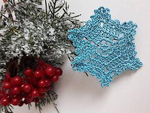 Dekorácie - Vianočná ozdoba - Farebné vločky (Modrá) - 11336295_