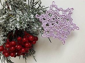 Dekorácie - Vianočná ozdoba - Farebné vločky (Fialová) - 11336422_