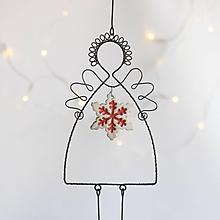 Dekorácie - anjelik so snehovou vločkou - 11335491_