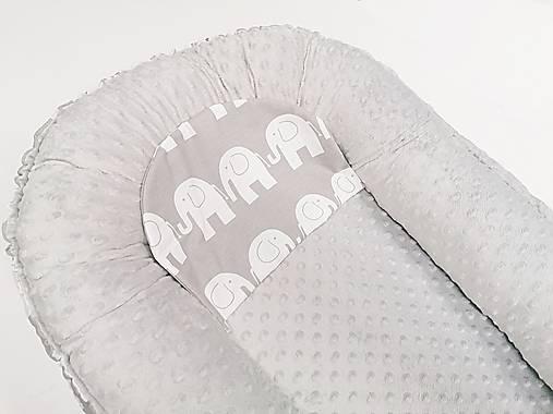 Hniezdo pre bábätko sivá minky + sivé sloníky