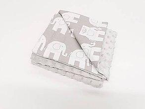 Textil - Minky deka sivá a sivé sloníky 70*100cm - 11338206_
