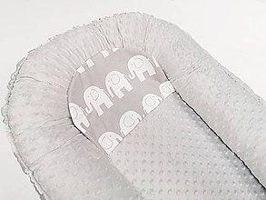 Textil - Hniezdo pre bábätko sivá minky + sivé sloníky - 11338209_