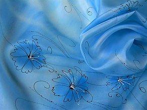 Šatky - Modré astry/ hedvábný šátek 75 x 75 cm/ - 11337229_