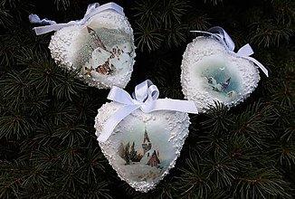 Dekorácie - Vianočna sada 3 srdiečok - 11335641_