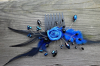 Ozdoby do vlasov - hrebienok - kráľovská modrá - 11335147_