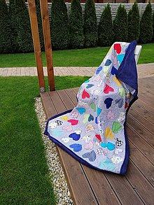 Textil - Detská deka srdiečka modrá 125x190cm - 11337829_
