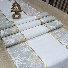 Úžitkový textil - GRACIA - zlaté a biele vločky - dlhý obrus - 11337190_