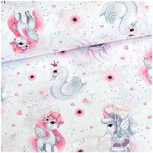 Textil - spací vak Labuť a jednorožec - 11335517_