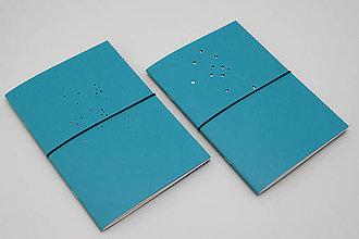 Papiernictvo - Mesačný diár 2020 (minimalista) A5 (tyrkysová obálka s dierkami) - 11335176_