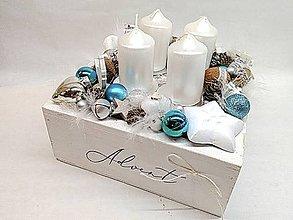 Dekorácie - Vintage adventná dekorácia púdrovoružová (Modrá) - 11337765_