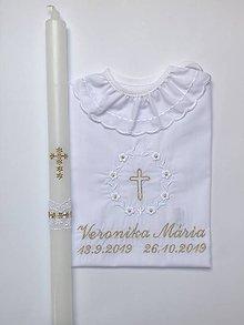 Detské oblečenie - košieľka na krst k01 bielo-zlatá a sviečka na krst zlatý krížik - 11336849_