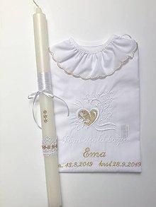 Detské oblečenie - Košieľka na krst k12 a sviečka na krst zlaté kvietky - 11337050_