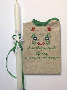 Detské oblečenie - Košieľka na krst k15 ľanová a sviečka na krst biela čipka, biele srdiečko a zelená mašlička - 11337088_