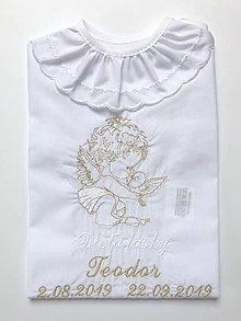 Detské oblečenie - košieľka na krst K34 bielo-zlatá - 11337391_