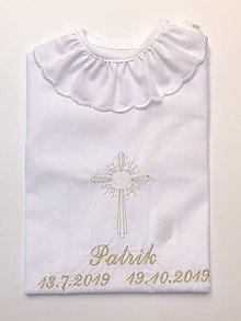 Detské oblečenie - košieľka na krst k16 bielo-zlatá - 11337503_
