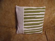 Úžitkový textil - Tkaná obliečka na vankúš zeleno-biela 2 ks - 11338133_