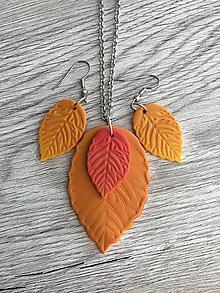 Sady šperkov - Jesenné lístie - sada nahrdelník s náušnicami - 11340224_