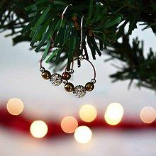 Náušnice - Vianočné náušnice s hematitom a striebornými korálkami na červenom lanku - 11342173_