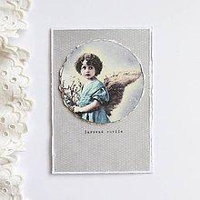 Papiernictvo - Vianočná pohľadnica, anjel - 11339124_