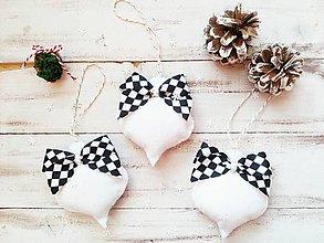 Dekorácie - Vianočné ozdoby - čierno-biele - 11339881_