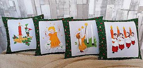 """Úžitkový textil - Vianočné maľované vankúše """"adventne"""" - 11342065_"""