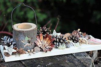 Dekorácie - Vianočný svietnik- prírodný - 11340681_
