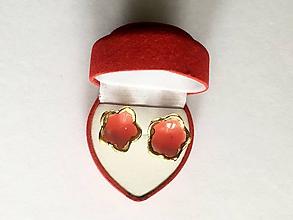 Náušnice - červené kvietky/keramika/ - 11341263_