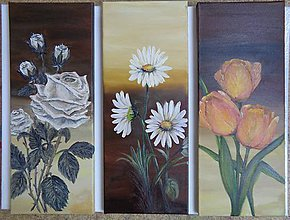 Obrazy - 3-dielny set kvetín - 11341702_