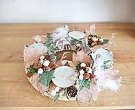 Dekorácie - vianočný svietnik v prírodných farbách - 11339206_