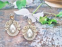 Náušnice - smotanovo perleťové náušničky - 11341469_