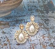 Náušnice - smotanovo perleťové náušničky - 11341471_