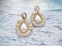 Náušnice - smotanovo perleťové náušničky - 11341475_