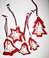 Dekorácie - Vianočné ozdoby - sada 5 kusov, filc, drevo - 11341184_