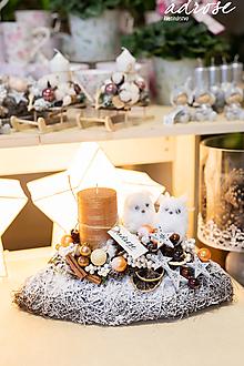 Dekorácie - Vianoce - aranžmán - sovy - 11342409_