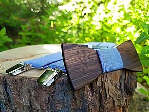 Doplnky - Pánsky drevený motýlik a traky - 11340737_