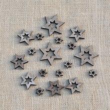 Polotovary - Drevené hviezdičky (Šedá) - 11341642_