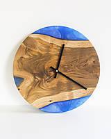 Hodiny - Živicové hodiny z teakového dreva Blue Lagoon - 11342232_