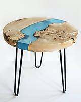 Nábytok - Konferenčný živicový stolík z gaštanového dreva Caribic Blue - 11342489_