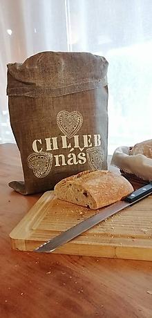 Úžitkový textil - ChleBag - Ľanové voskované vrecko na chlieb/pečivo (Biela srdiečka) - 11342313_
