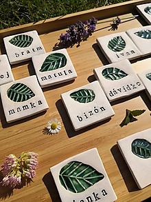 Darčeky pre svadobčanov - Menovka štvorček s dotykom listu - 11339623_